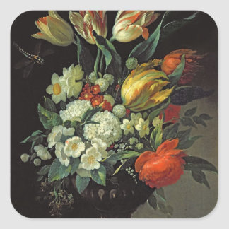 Still Life with Flowers, 1764 Square Sticker