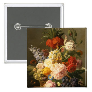 Still Life with Flowers and Fruit, 1827 2 Inch Square Button