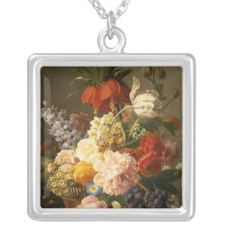 Still Life with Flowers and Fruit, 1827 Silver Plated Necklace