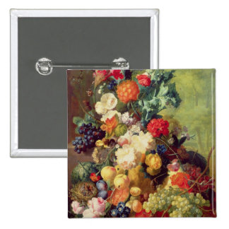 Still Life with Flowers and Fruit 2 Inch Square Button