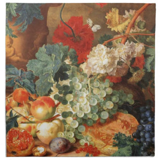 Still life with flowers and fruit cloth napkin