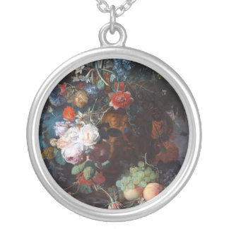 Still Life with Flowers and Fruit, Jan Van Huysum Round Pendant Necklace