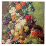 Still Life with Flowers and Fruit Large Square Tile