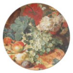 Still life with flowers and fruit party plate