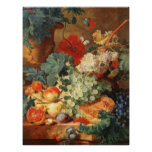 Still life with flowers and fruit poster