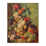 Still Life with Flowers and Fruit Wood Wall Art