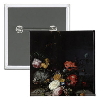 Still Life with Flowers and Insects 2 Inch Square Button