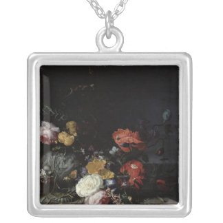 Still Life with Flowers and Insects Silver Plated Necklace
