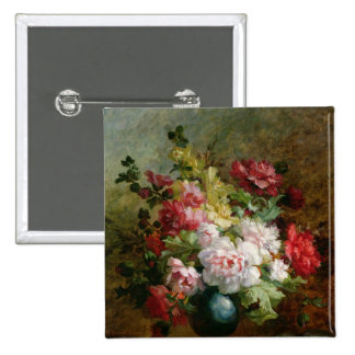 Still life with flowers and sheet music 2 inch square button