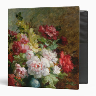 Still life with flowers and sheet music binder
