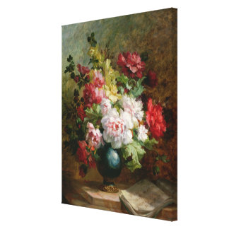 Still life with flowers and sheet music canvas print