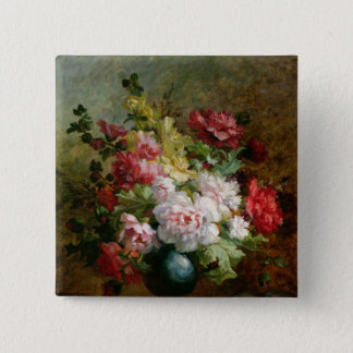 Still life with flowers and sheet music pinback button