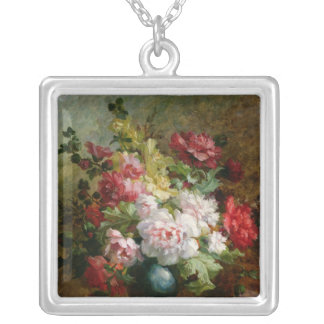 Still life with flowers and sheet music silver plated necklace