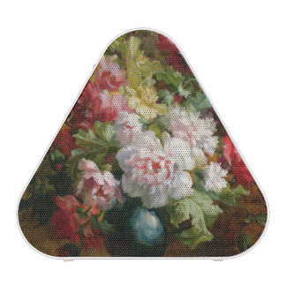Still life with flowers and sheet music speaker