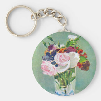 Still Life With Flowers by Manet Keychain