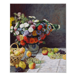 Still Life with Flowers & Fruit by Claude Monet Poster