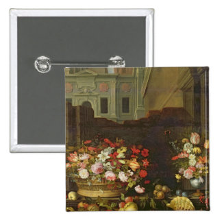 Still Life with Flowers, Fruits and Shells 2 Inch Square Button
