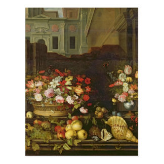 Still Life with Flowers, Fruits and Shells Postcard