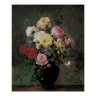 Still Life with Flowers in a Vase by Hermansen Poster