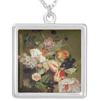 Still life with flowers silver plated necklace