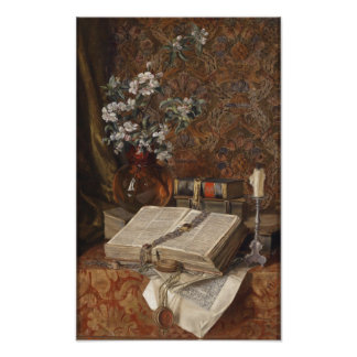 Still life with folios and cherry blossoms poster