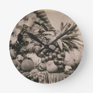 Still Life with Fruit, 1860 (sepia photo) Round Wallclock