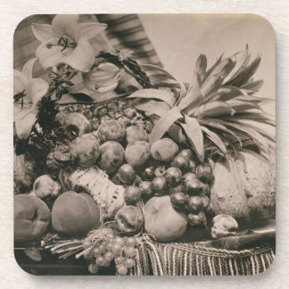 Still Life with Fruit, 1860 (sepia photo) Drink Coaster