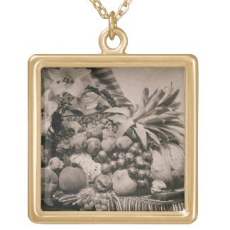 Still Life with Fruit, 1860 (sepia photo) Gold Plated Necklace