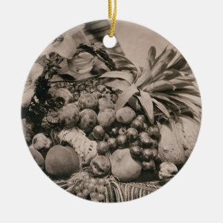 Still Life with Fruit, 1860 (sepia photo) Christmas Tree Ornament