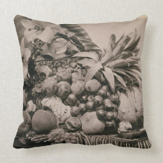 Still Life with Fruit, 1860 (sepia photo) Throw Pillows