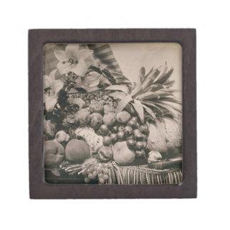 Still Life with Fruit, 1860 (sepia photo) Premium Keepsake Box