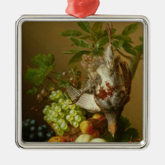 Still Life with Fruit and a Dead Partridge Metal Ornament