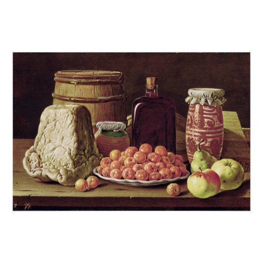 Still Life with Fruit and Cheese Poster