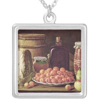 Still Life with Fruit and Cheese Square Pendant Necklace