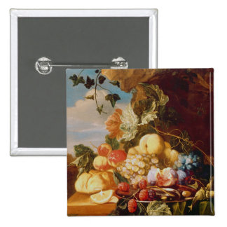 Still life with fruit and flowers 2 inch square button