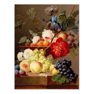 Still life with fruit and flowers postcard