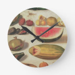 Still Life with Fruit and Toad Round Clock