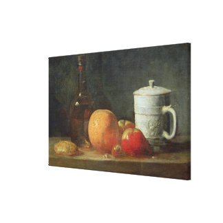 Still Life with Fruit and Wine Bottle Canvas Print