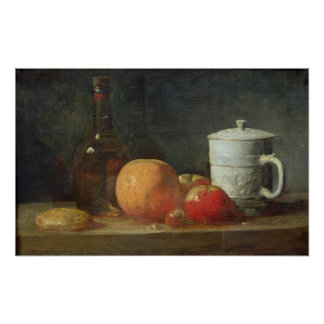 Still Life with Fruit and Wine Bottle Poster