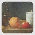Still Life with Fruit and Wine Bottle Square Stickers