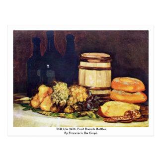 Still Life With Fruit Breads Bottles Postcard