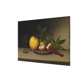 Still Life with Fruit, Cakes and Wine, 1821 Stretched Canvas Print