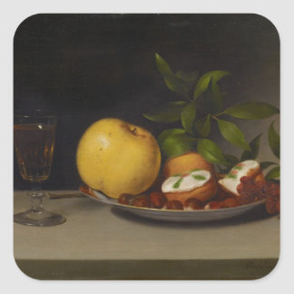 Still Life with Fruit, Cakes and Wine, 1821 Square Sticker