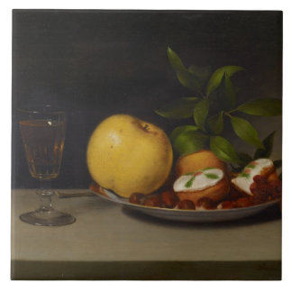 Still Life with Fruit, Cakes and Wine, 1821 Tile