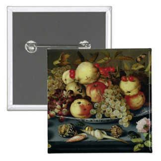 Still Life with Fruit, Flowers and Seafood 2 Inch Square Button