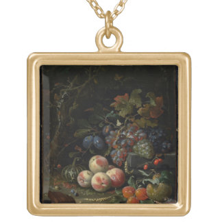 Still Life with Fruit, Foliage and Insects, c.1669 Gold Plated Necklace