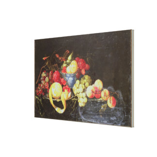 Still Life with Fruit in Delft Bowl, Including a P Canvas Print