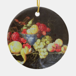 Still Life with Fruit in Delft Bowl, Including a P Ceramic Ornament