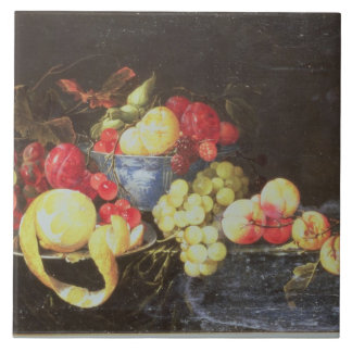 Still Life with Fruit in Delft Bowl, Including a P Ceramic Tile