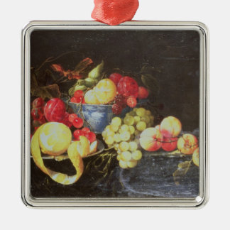 Still Life with Fruit in Delft Bowl, Including a P Metal Ornament
